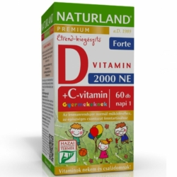 Naturland C+D forte D3-vitamin 2000NE + C-vitamin 50mg Prémium gyerek rágótabletta – 60db