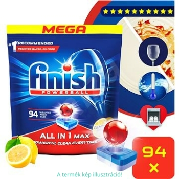 Finish mosogató tabletta 94 mosás 94 db All in 1 Max Lemon